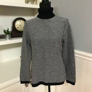 Karen Scott White/Black Turtleneck Sweater